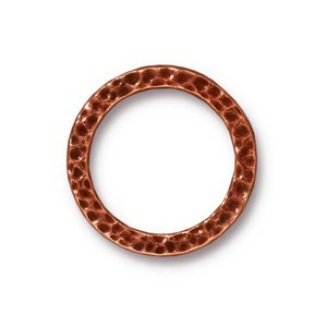TierraCast Pewter Antique Copper Plated 19mm Large Hammertone Ring Link x1