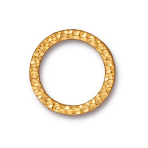 TierraCast Pewter Bright Gold Plated 19mm Large Hammertone Ring Link x1