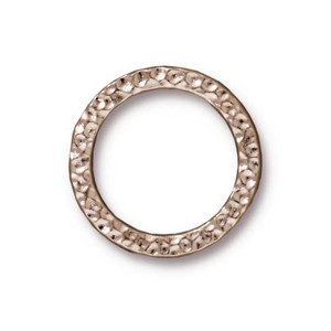 TierraCast Pewter Bright Rhodium Plated 19mm Large Hammertone Ring Link x1
