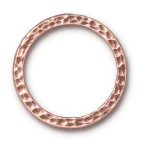 "TierraCast Pewter Antique Copper Plated 1"" - 25mm Hammertone Ring Link x1"