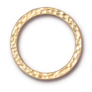 "TierraCast Pewter Bright Gold Plated 1"" - 25mm Hammertone Ring Link x1"