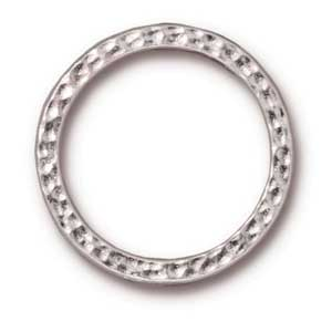 "TierraCast Pewter Bright Rhodium Plated 1"" - 25mm Hammertone Ring Link x1"