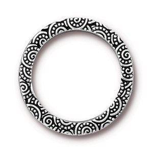 "TierraCast Pewter Antiqued Silver Plated 1"" - 25mm Spiral Ring Link x1"