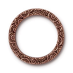 "TierraCast Pewter Antiqued Copper Plated 1"" - 25mm Spiral Ring Link x1"