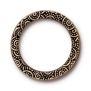 "TierraCast Pewter Antiqued Gold Plated 1"" - 25mm Spiral Ring Link x1"