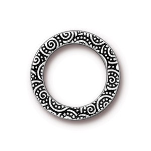 TierraCast Pewter Antique Silver Plated 19mm Large Spirals Ring Link x1