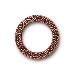 TierraCast Pewter Antique Copper Plated 19mm Large Spirals Ring Link x1