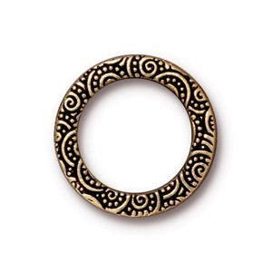 TierraCast Pewter Antique Gold Plated 19mm Large Spirals Ring Link x1