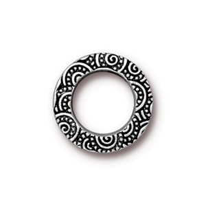 TierraCast Pewter Antiqued Silver Plated 16mm Med Spirals Ring Link x1