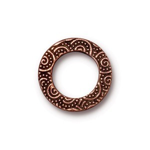 TierraCast Pewter Antiqued Copper Plated 16mm Med Spirals Ring Link x1
