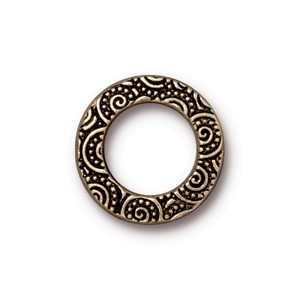 TierraCast Pewter Antiqued Gold Plated 16mm Med Spirals Ring Link x1
