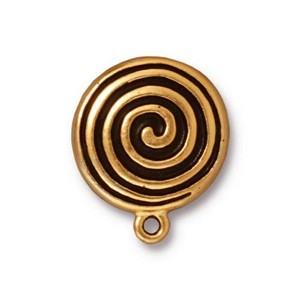 TierraCast Pewter Bright Gold Plated Spiral Earring Clips (For Non-Pierced Ears) x1pr