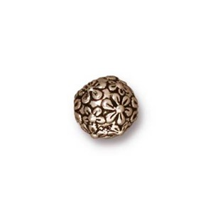 TierraCast Pewter Silver Plated 8mm Round Floral Bead x1