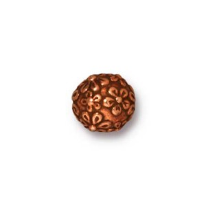 TierraCast Pewter Copper Plated 8mm Round Floral Bead x1