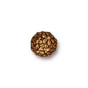 TierraCast Pewter Gold Plated 8mm Round Floral Bead x1