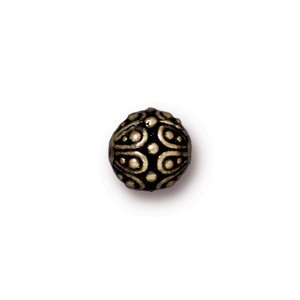 TierraCast Pewter Brass Oxide 7mm Round Casbah Bead x1