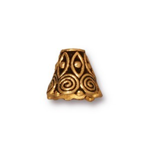 TierraCast Pewter Antique Gold Plated Spirals Cone x1