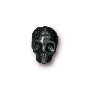 TierraCast Pewter Black 9.7mm Rose Skull Bead x1