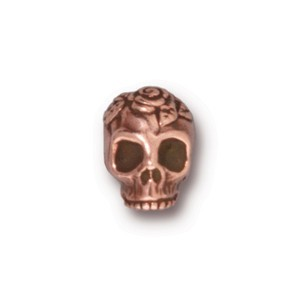 TierraCast Pewter Copper Plated 9.7mm Rose Skull Bead x1