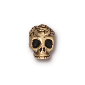 TierraCast Pewter Gold Plated 9.7mm Rose Skull Bead x1