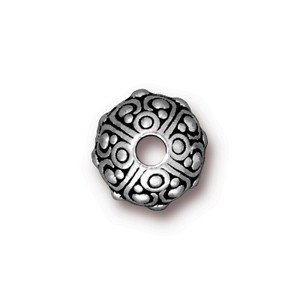 TierraCast Pewter Silver Plated 10x8mm Oasis Bead x1