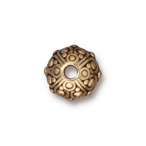 TierraCast Pewter Gold Plated 10x8mm Oasis Bead x1