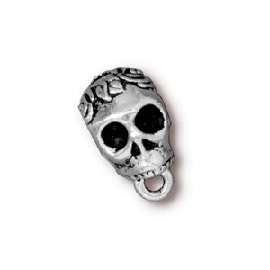 TierraCast Pewter Silver Plated Rose Skull Slider Bail (6mm Hole Bead) x1