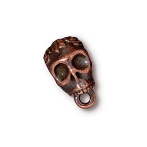 TierraCast Pewter Copper Plated Rose Skull Slider Bail (6mm Hole Bead) x1