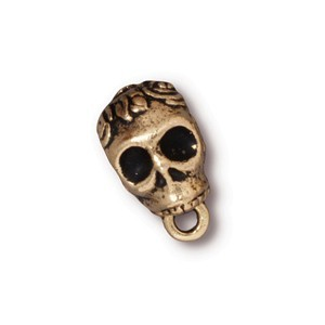 TierraCast Pewter Gold Plated Rose Skull Slider Bail (6mm Hole Bead) x1