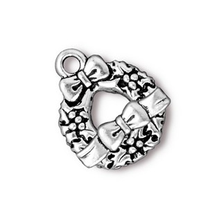 TierraCast Pewter Antique Silver Plated Wreath & Bow Toggle x1