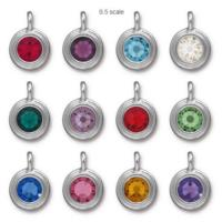 Tierracast Swarovski Birthstone Stepped Bezel Charms - 12mm, Silver Plated - Full Set