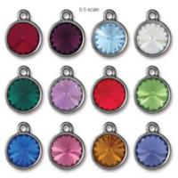 Tierracast Swarovski Birthstone (12mm Swarovski Rivoli) 14mm Charms, Rhodium Plated - Full Set