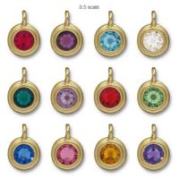 Tierracast Swarovski Birthstone Stepped Bezel Charms - 12mm, Gold Plated - Full Set