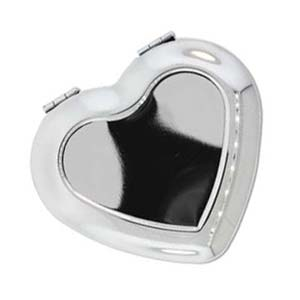 Pocket Mirror Compact Silver Plated - Blank Heart Setting for Engraving Cameo, Cabochon, Resin, Collage or Clay