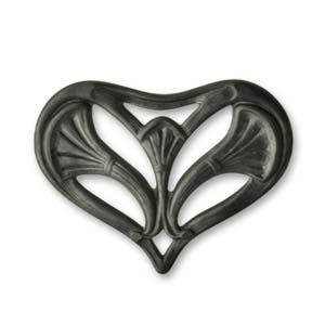 Vintaj Arte Metal 32x22mm Nouveau Leaf Heart Decorivet x1