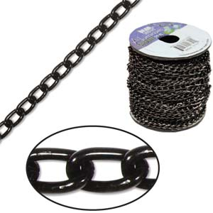 Aluminium Black Chain Link 6x3.6mm x1ft - 30cm