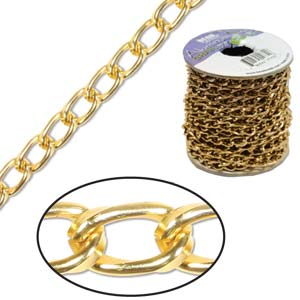 Aluminium Bright Gold Chain Link 9.3x5.3mm x1ft - 30cm