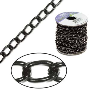 Aluminium Black Chain Link 9.3x5.3mm x1ft - 30cm
