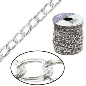 Aluminium Bright Silver Chain Link 9.3x5.3mm x1ft - 30cm