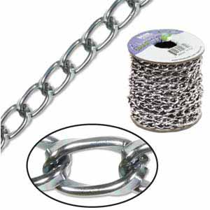Aluminium Hematite Chain Link 9.3x5.3mm x3ft - 90cm