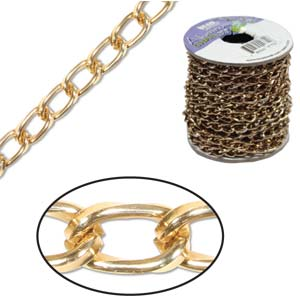 Aluminium Light Copper Chain Link 9.3x5.3mm x1ft - 30cm