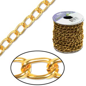 Aluminium Tangerine Chain Link 9.3x5.3mm x1ft - 30cm
