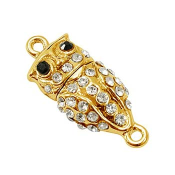 Beautiful Owl Gold Tone Rhinestone Magnetic Clasp x1