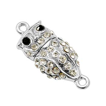 Beautiful Owl Silver Tone Rhinestone Magnetic Clasp x1