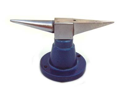Double Horn Anvil - Cast Steel - with Blue Base - Jewellers Tool