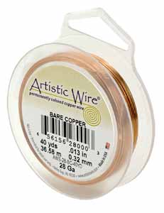 Artistic Wire - 26g Bare Copper 30 yd (27.43m) Retail Spool