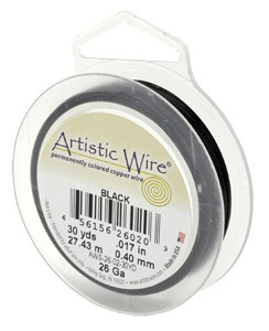 Artistic Wire - 20g Black per 15 yd (13.7m) Retail Spool