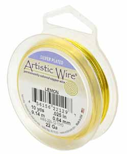 Artistic Wire 22ga Non-Tarnish Lemon per 10yd (9.14m) Retail Spool