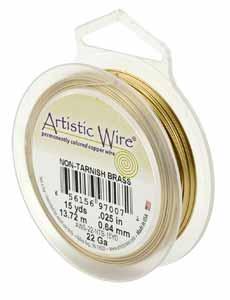 Artistic Wire 18ga Non Tarnish Brass per 10 yd (9.14m) Retail Spool