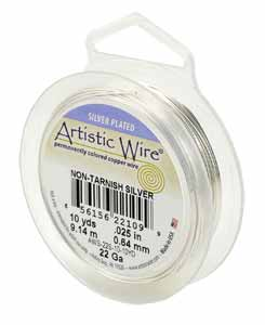 Artistic Wire 22 gauge Non-Tarnish Silver Plated per 10 yd (9.14m) Retail Spool
